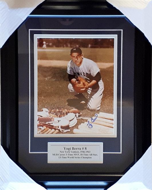 Berra, Yogi Autographed Yankees 8x10 Photo Framed