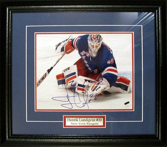 Lundqvist, Henrik Autographed Rangers 8x10 Photo Framed