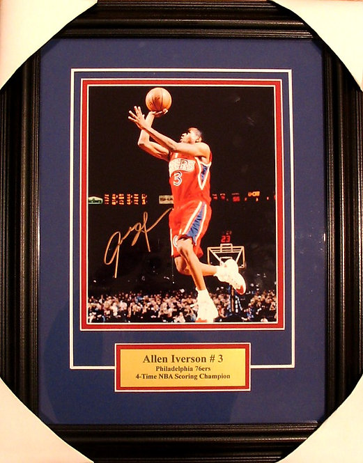 Iverson, Allen Autographed 76ers 8x10 Photo Framed