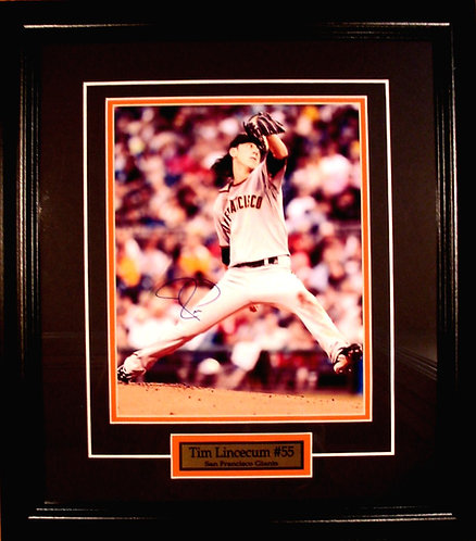 Lincecum, Tim Autographed Giants 8x10 Photo Framed