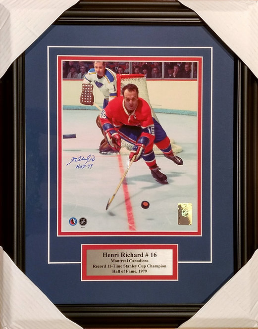 Richard, Henri Autographed Canadiens 8x10 Photo Framed