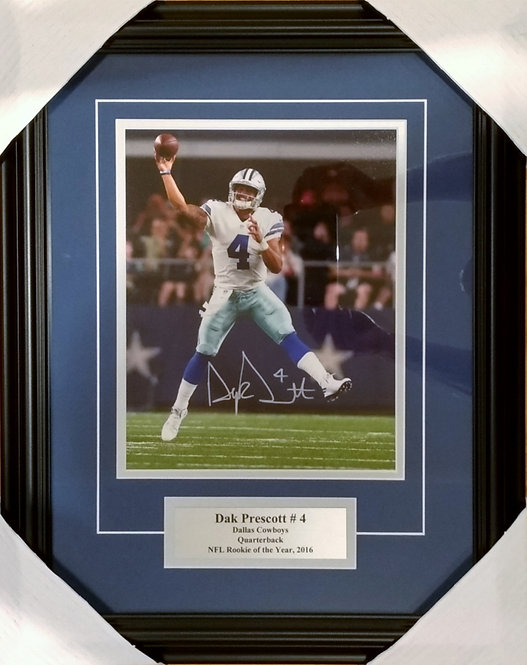 Prescott, Dak Autographed Cowboys 8x10 Photo Framed
