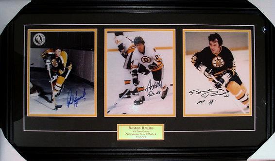 Esposito, O'Reilly & Park Triple Autographed Bruins 8x10 Photos Framed
