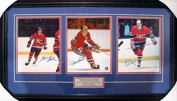 Lafleur, Lemaire & Shutt Triple Autographed Canadiens 8x10 Photos Framed