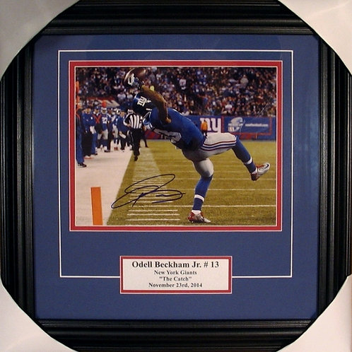 "Beckham, Odell Autographed ""The Catch"" Giants 8x10 Photo Framed"