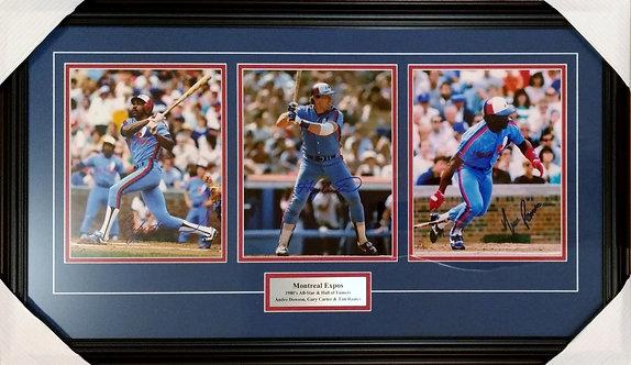 Carter, Dawson & Raines Triple Autographed Expos 8x10 Photos Framed