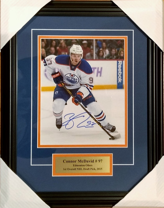 """McDavid, Connor Autographed Oilers """"White"""" 8x10 Photo Framed"""