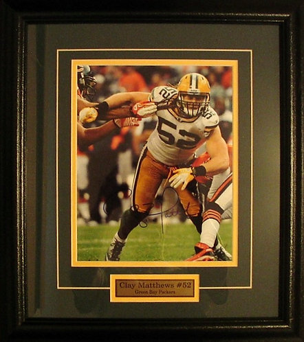 Matthews, Clay Autographed Packers 8x10 Photo Framed