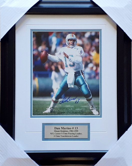 Marino, Dan Autographed Dolphins 8x10 Photo Framed