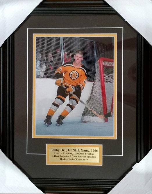 """Orr, Bobby """"1st NHL Game"""" Bruins 11x14 Framed"""