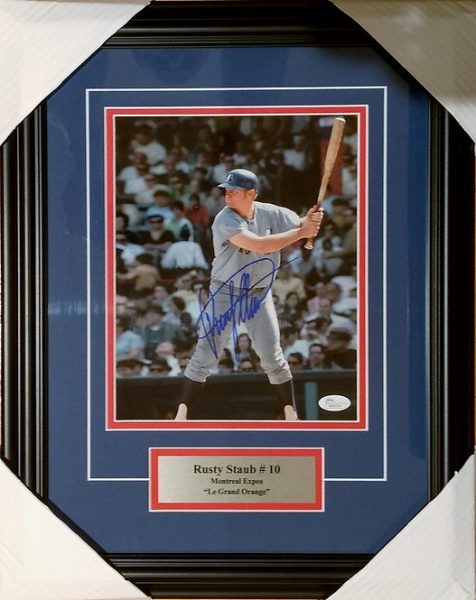 Staub, Rusty Autographed Expos 8x10 Photo Framed