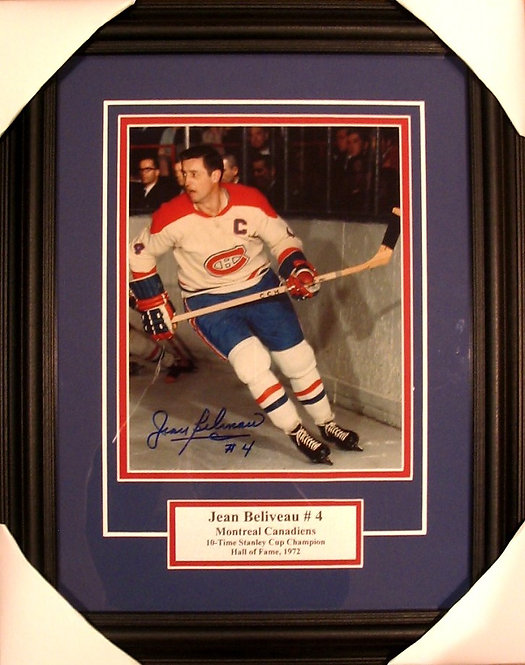 Beliveau, Jean Autographed Canadiens 8x10 Photo Framed