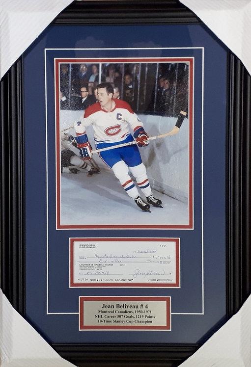 Beliveau, Jean Autographed Cheque & Canadiens Photo Framed