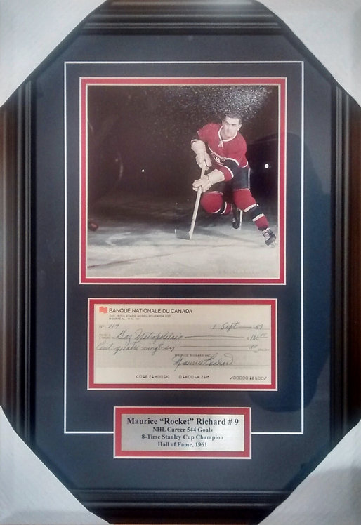 Richard, Maurice Autographed Cheque & Canadiens Photo Framed
