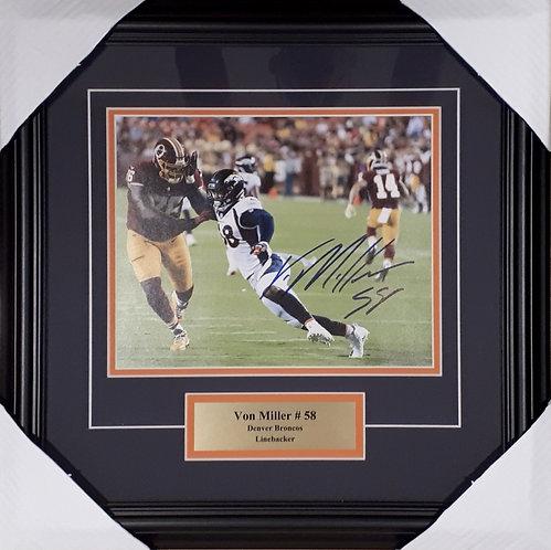 Miller, Von Autographed Broncos 8x10 Photo Framed