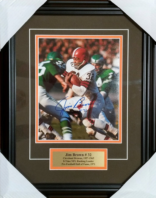 Brown, Jim Autographed Browns 8x10 Photo Framed