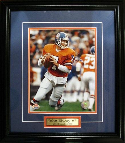 Elway, John Autographed Broncos 8x10 Photo Framed