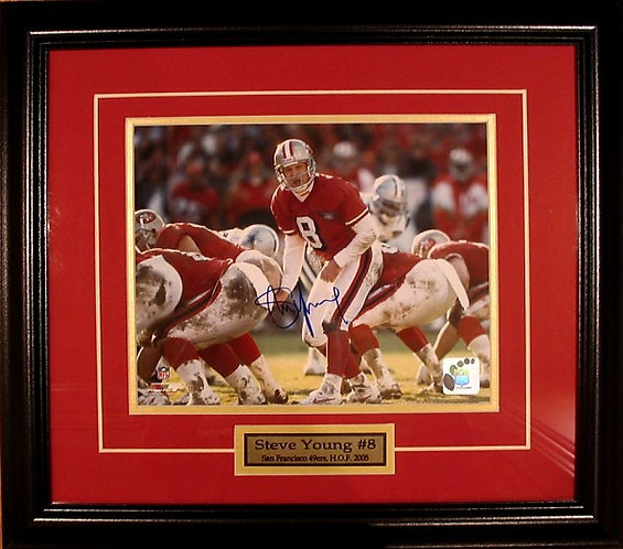 Young, Steve Autographed 49ers 8x10 Photo Framed