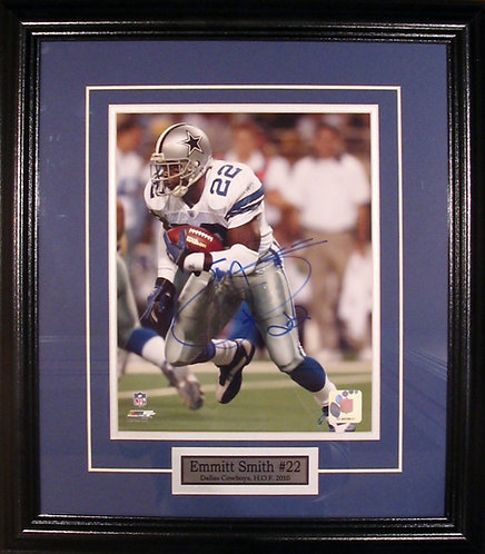 Smith, Emmitt Autographed Cowboys 8x10 Photo Framed