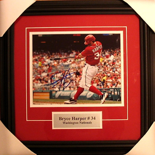 Harper, Bryce Autographed Nationals 8x10 Photo Framed