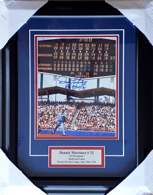 """Martinez, Dennis Autographed """"Perfect Game"""" Expos 8x10 Photo Framed"""