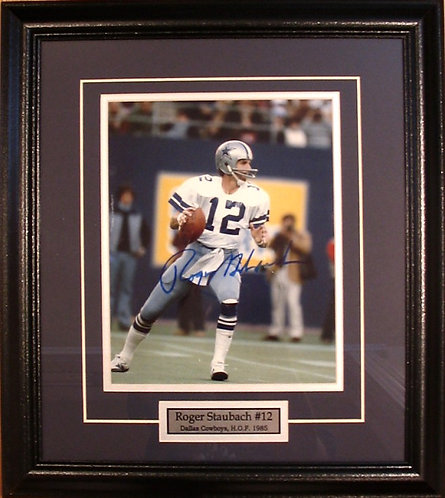 Staubach, Roger Autographed Cowboys 8x10 Photo Framed