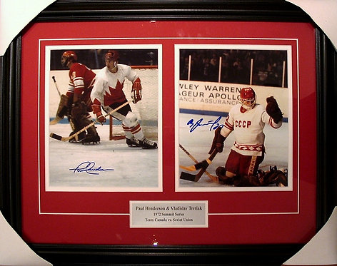 Henderson & Tretiak Dual Autographed 1972 Summit Series 8x10 Photos Framed