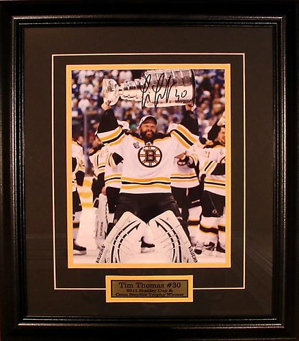 """Thomas, Tim Autographed Bruins """"Stanley Cup"""" 8x10 Photo Framed"""