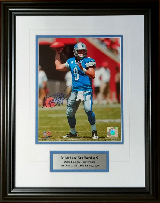 Stafford, Matt Autographed Lions 8x10 Photo Framed