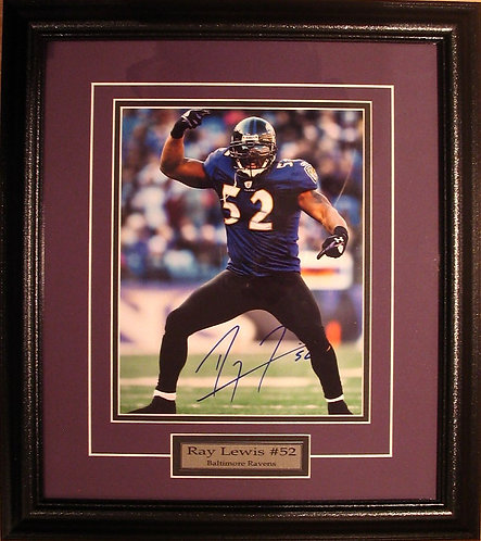 Lewis, Ray Autographed Ravens 8x10 Photo Framed