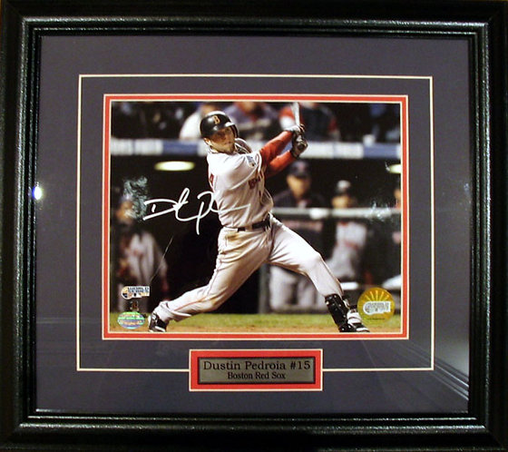 Pedroia, Dustin Autographed Red Sox 8x10 Photo Framed