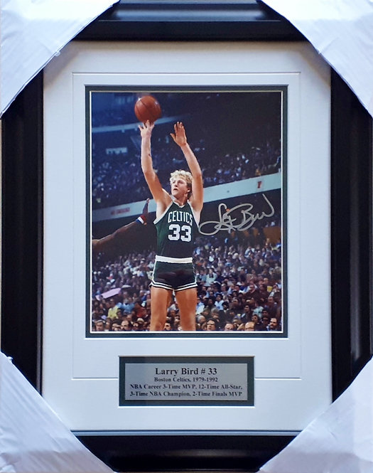 Bird, Larry Autographed Celtics 8x10 Photo Framed