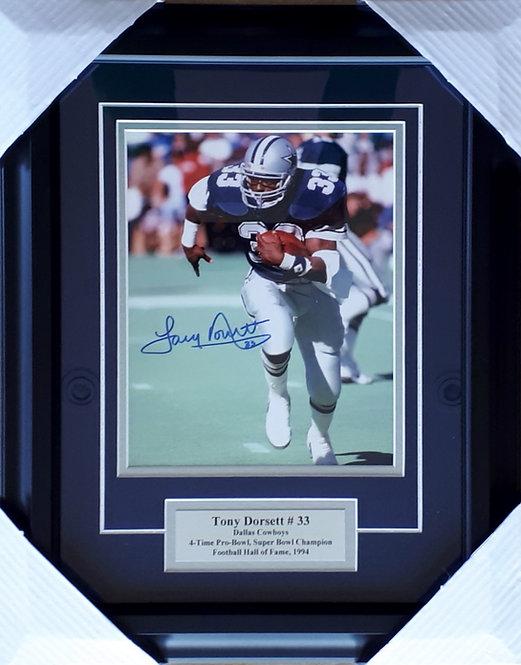 Dorsett, Tony Autographed Cowboys 8x10 Photo Framed