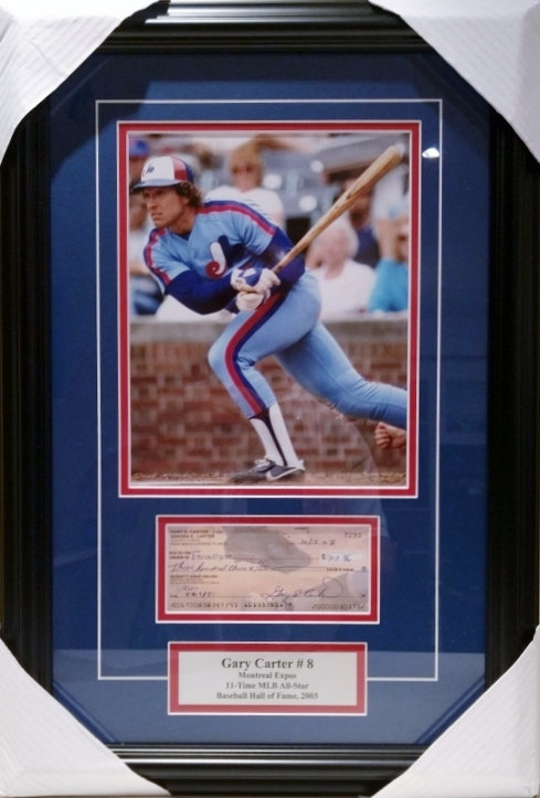 Carter, Gary Autographed Cheque & Expos Photo Framed