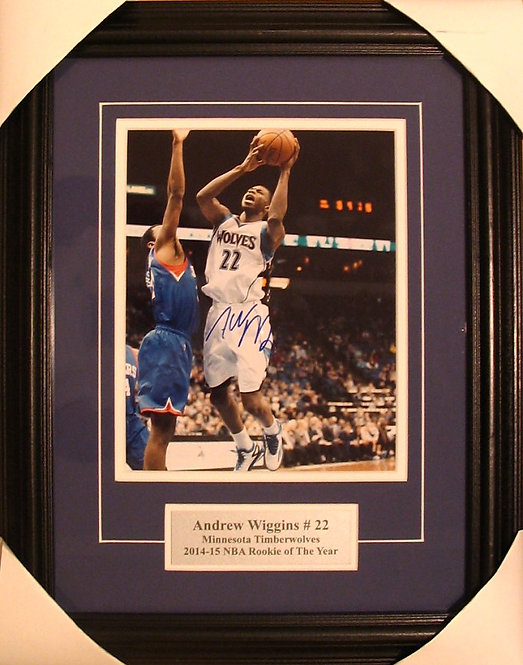 Wiggins, Andrew Autographed Timberwolves 8x10 Photo Framed