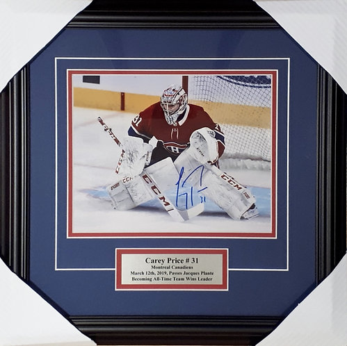 Price, Carey Autographed Canadiens 8x10 Photo Framed