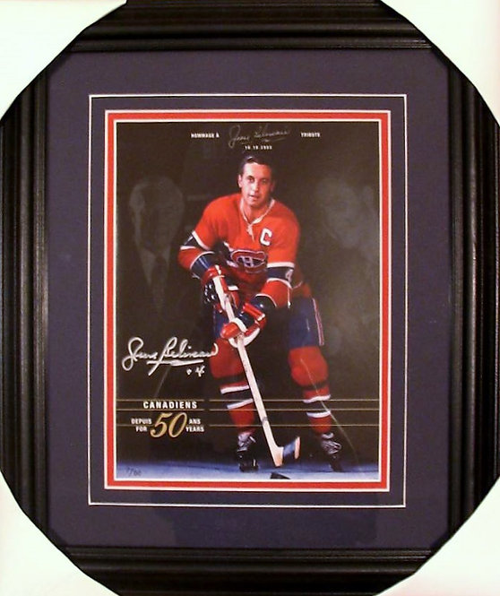Beliveau, Jean Autographed Canadiens Magazine Framed
