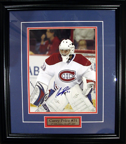 "Price, Carey Autographed Canadiens ""1st NHL Game"" 8x10 Photo Framed"