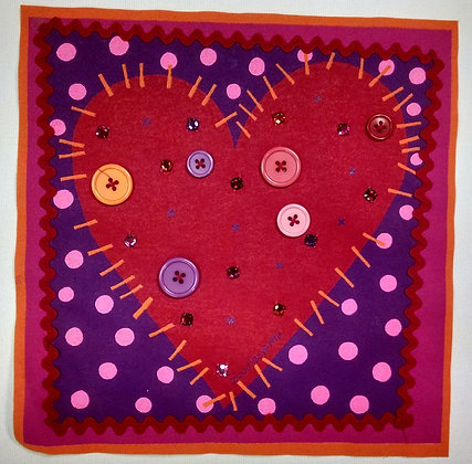 Zoodles Applique purple/red Heart