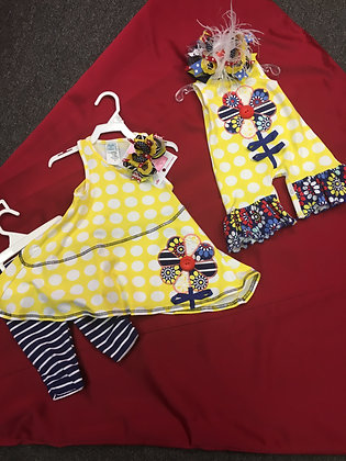 one piece, navy and yellow infant