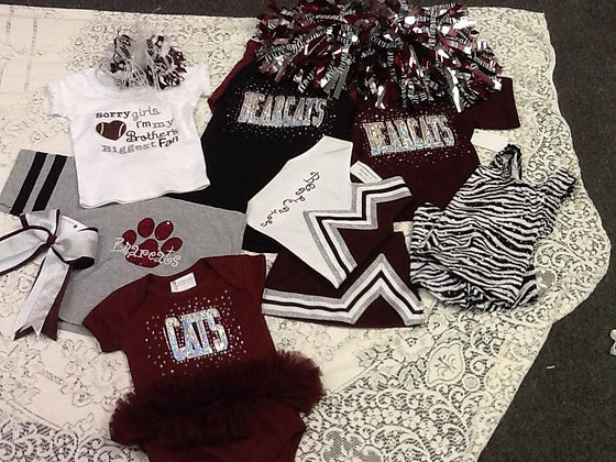 cheer uniform maroon, silver, white, style 2