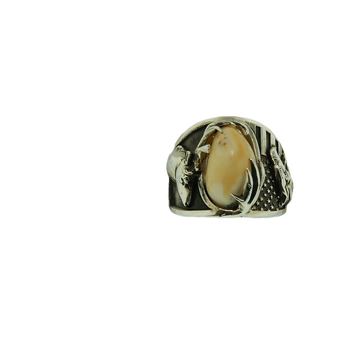 MEN'S ELK TOOTH RING WITH ELK AND EAGLE DESIGN