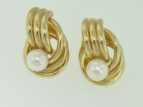 GOLD CHAIN PEARL EARRINGS