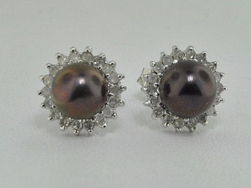 BLACK PEARL AND DIAMOND STUD EARRINGS