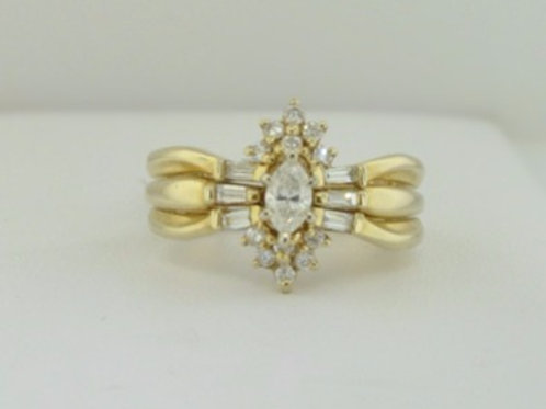 THREE RING WEDDING SET WITH MARQUISE DIAMOND