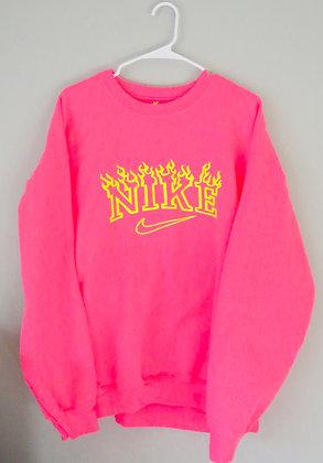 Neon pink flames crew