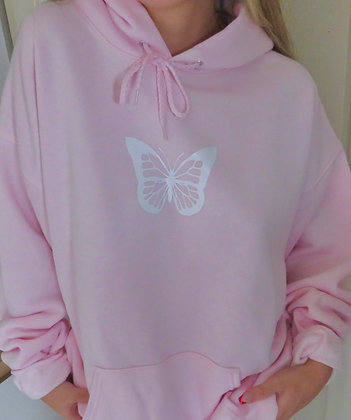 Baby pink butterfly hoodie