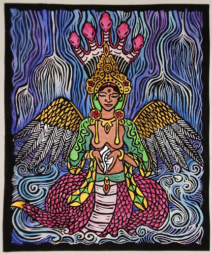 Naga Kanya linoblock print