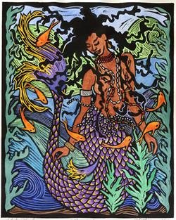 Yemoja linoblock print