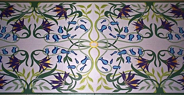 Art Nouveau floor mural